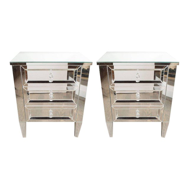 Contemporary Directoire Style Custom Mirrored Nightstands with Three Drawers - a Pair For Sale