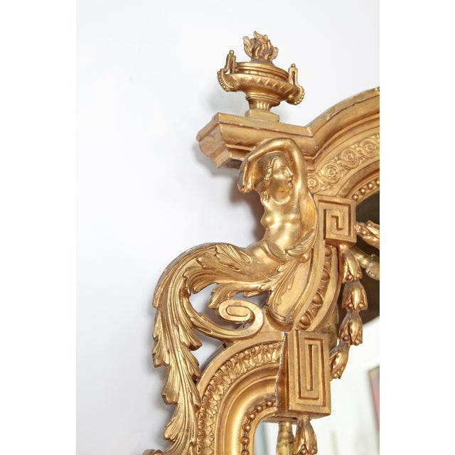 Late 19th Century Elaborate 19th Century Louis XVI Style Gilt Mirror For Sale - Image 5 of 12