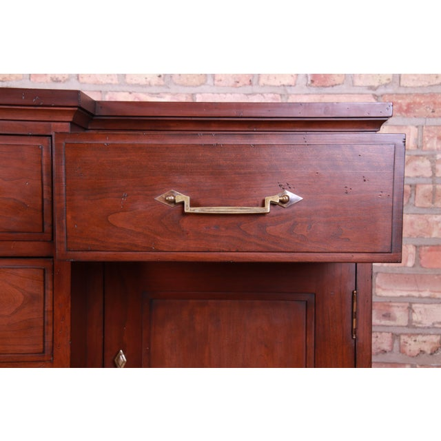 French Provincial Solid Mahogany Marble Top Sideboard Credenza Attributed to Grange For Sale - Image 10 of 13