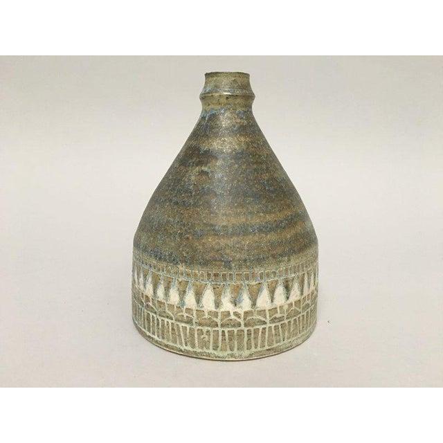 1960s Scandinavian Modern Hald Soon Studio Ceramic Bottle Vase For Sale - Image 4 of 9