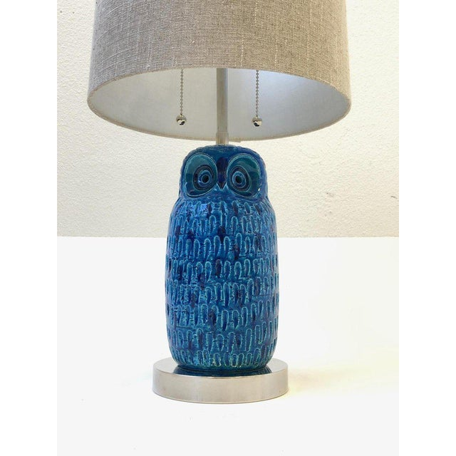 Italian Ceramic and Nickel Owl Table Lamp by Aldo Londi for Bitossi For Sale - Image 9 of 11