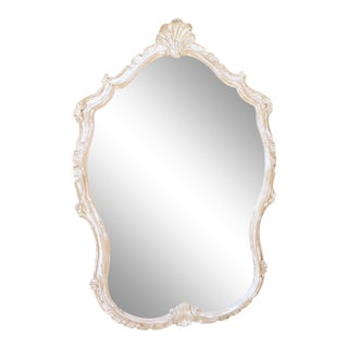 Vintage Rococo Carved Whitewashed Mirror For Sale