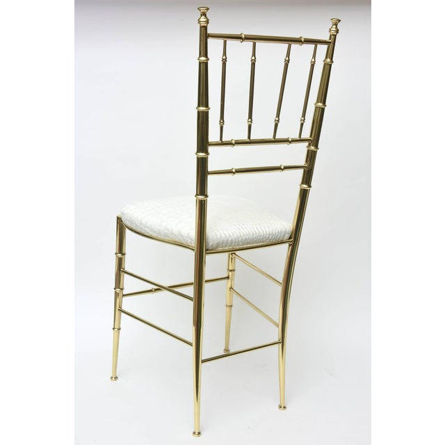 Gold Vintage Mid Century Italian Chiavari Faux Bamboo Brass and Upholstered Side Chair For Sale - Image 8 of 11