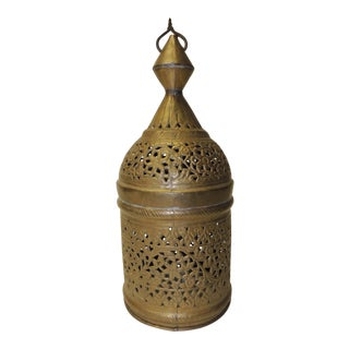 Vintage Moroccan Hanging Light Metal Small Shade For Sale