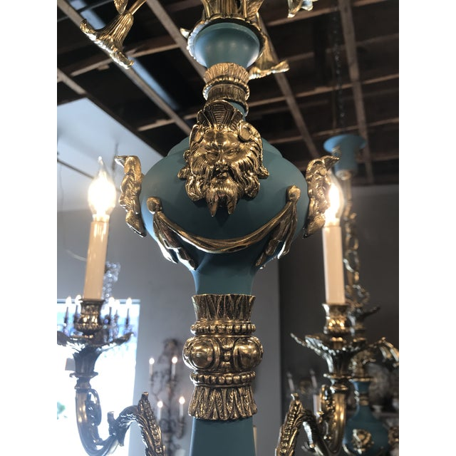 Russian Imperial Blue Bronze Chandeliers a Pair For Sale - Image 6 of 13