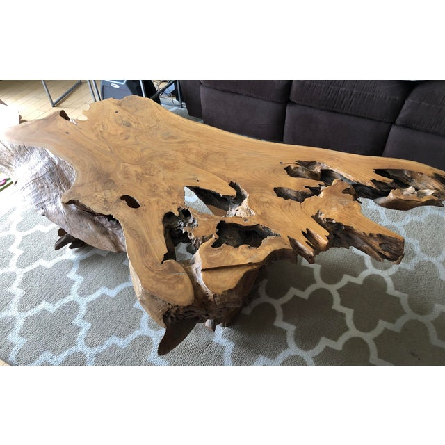 Rustic One Of A Kind Natural Teak Wood Slab Coffee Table