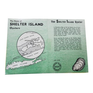 Vintage Shelter Island New York Oyster Advertisement For Sale