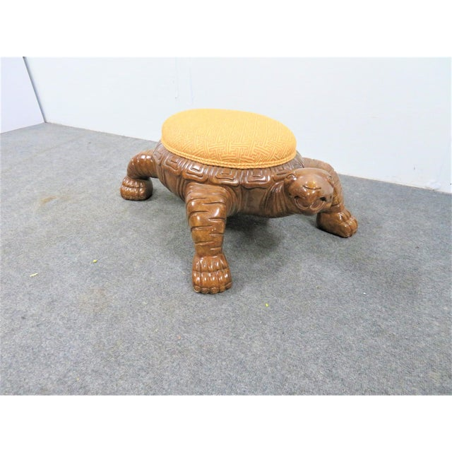Wood Carved Sea Turtle Ottoman For Sale - Image 7 of 7
