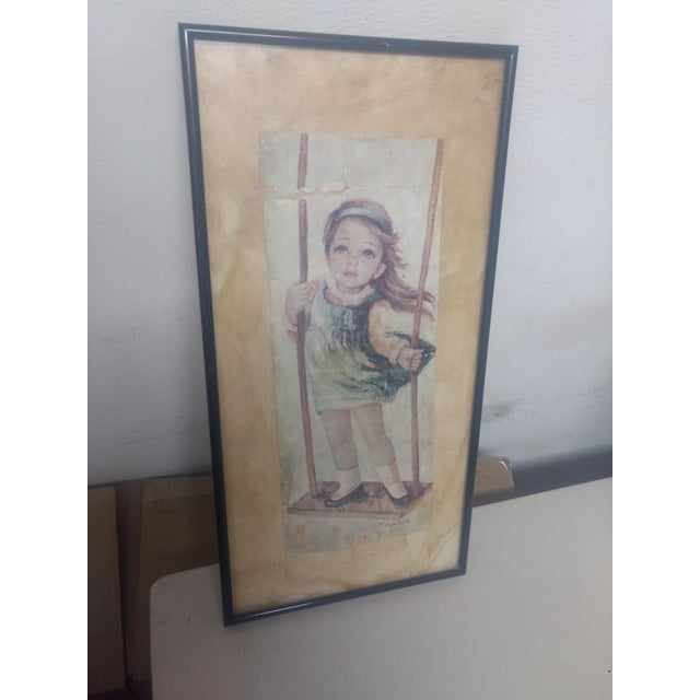 "1960s ""Big Eyes Girl"" Lithograph For Sale - Image 5 of 5"