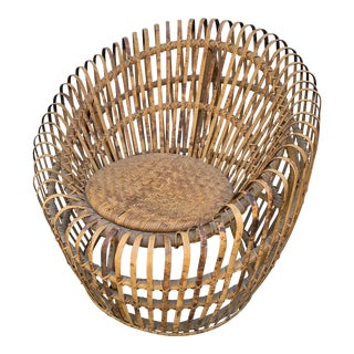 Franco Abini Style Rattan Bamboo Chair For Sale