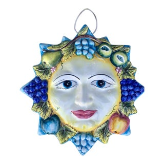 Portuguese Faience Ceramic Sun Face