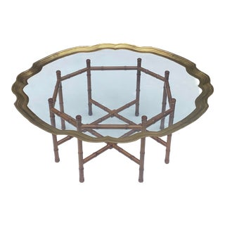 Hollywood Regency Faux Bamboo & Scalloped Brass Tray Top Coffee Table For Sale
