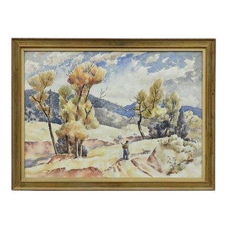1930s Vintage Russell Cowles Rabbit Hunter Watercolor Painting