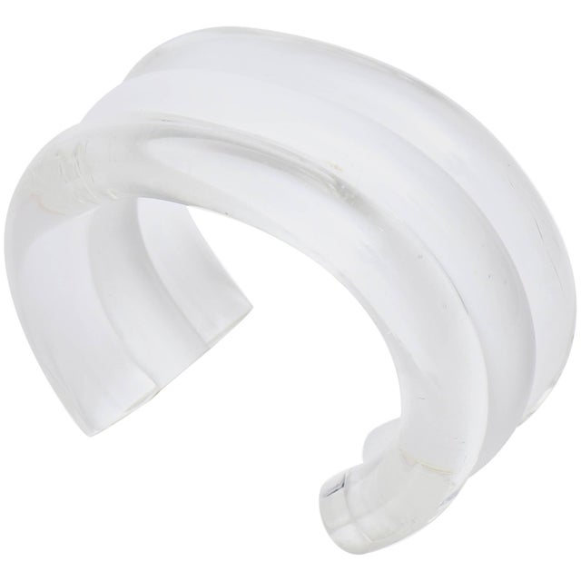 Judith Hendler Lucite Clear and White Cuff Bracelet For Sale - Image 9 of 9