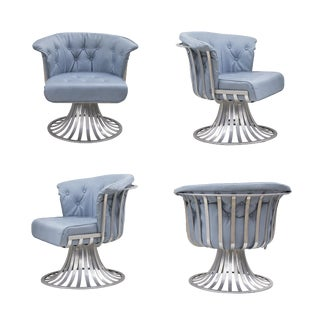 Set of 4 Aluminum Tulip Chairs by Russsell Woodard For Sale