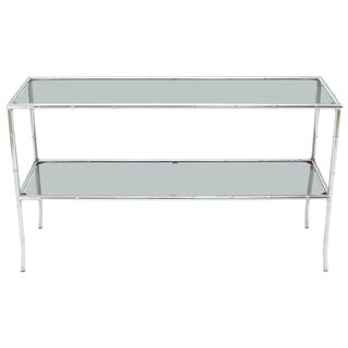 Faux Chrome Bamboo Smoked Glass Two-Tier Sofa Console Table For Sale