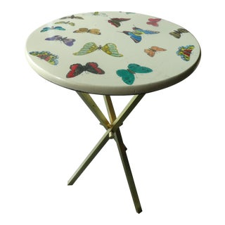 Italian Fornasetti White Butterfly Table For Sale