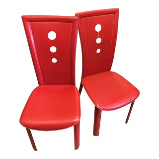 Contemporary Red Mid-Century Style Chairs - A Pair