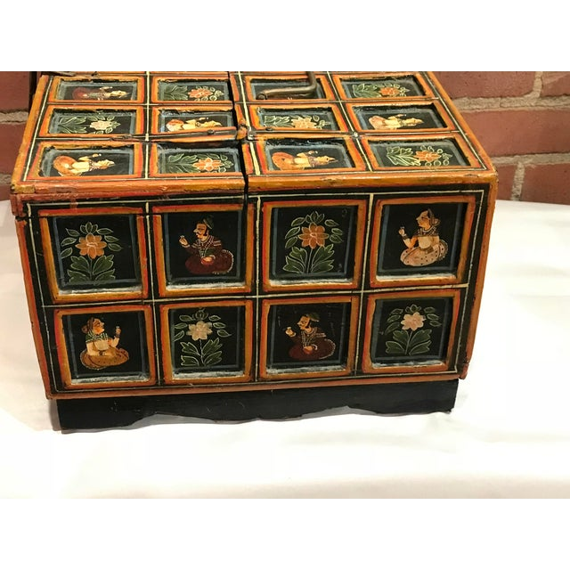 Metal Vintage Folk Art Indian Hand Painted Box For Sale - Image 7 of 10