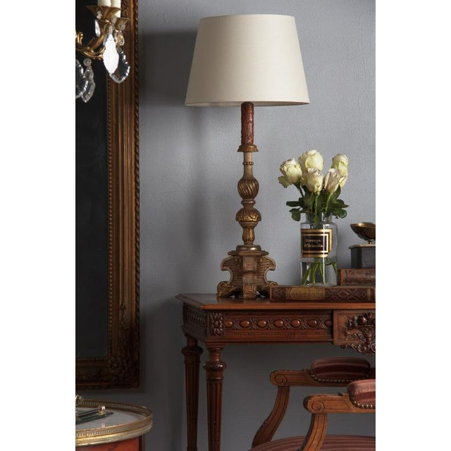 Rococo Late 19th Century Italian Painted Gilt Wooden Lamps - a Pair For Sale - Image 3 of 13