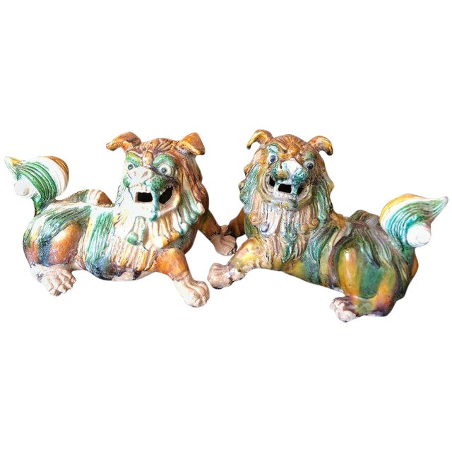 1950s Chinese Eye Catching Vintage Foo Dog Sculptures - a Pair For Sale