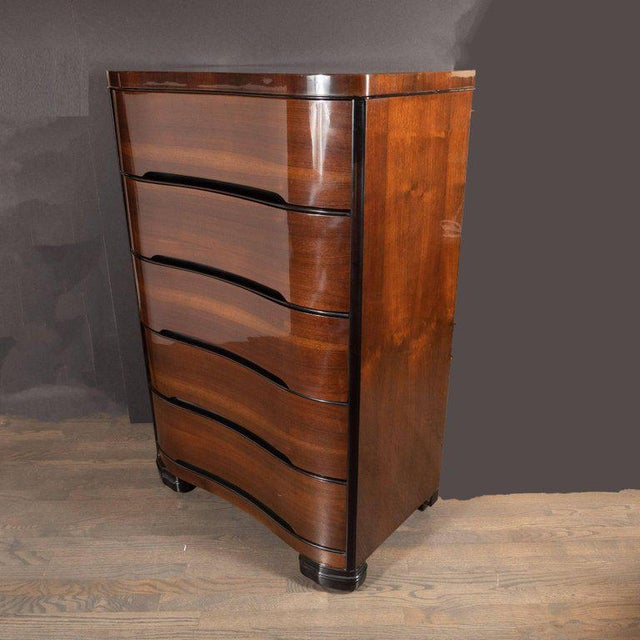 Brown Art Deco Machine Age Bookmatched Mahogany & Black Lacquer Streamlined High Chest For Sale - Image 8 of 13