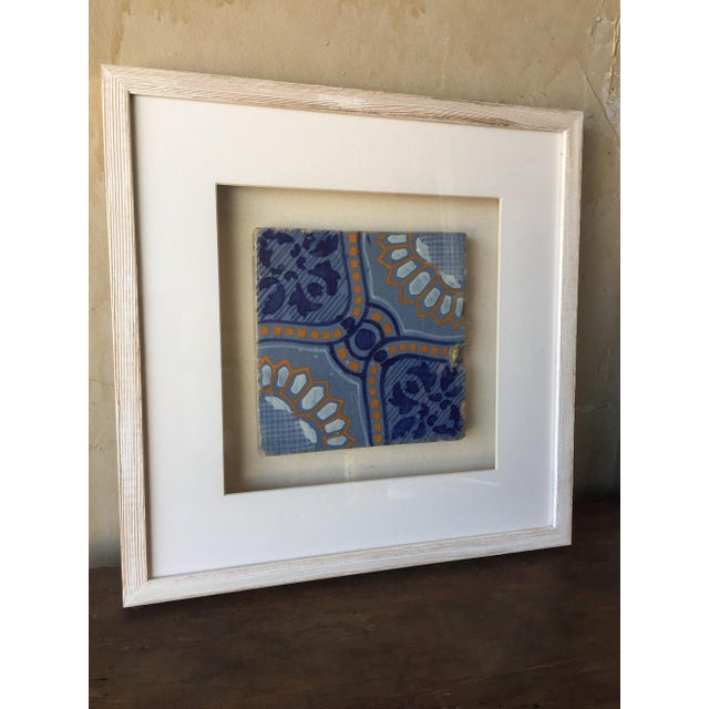Italian Framed Italian Antique Blue, Yellow, & White Tile For Sale - Image 3 of 7