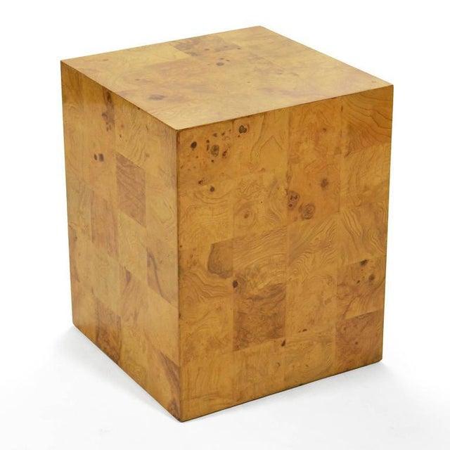 1970s Milo Baughman Burl Patchwork Pedestal/ End Table by Thayer Coggin For Sale - Image 5 of 9