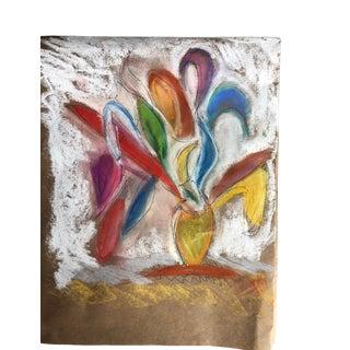 Abstract Flower Vase 9x10 Original Pastel by Erik Sulander For Sale
