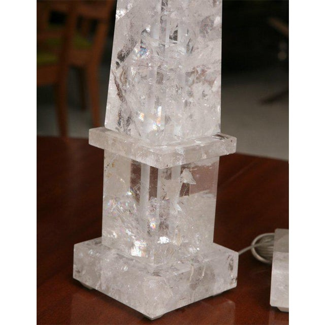 Pair of Rock Crystal Lamps For Sale - Image 10 of 11