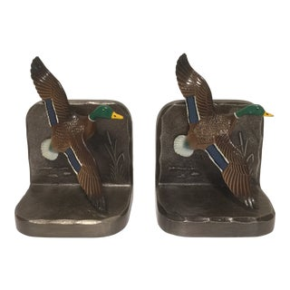 Metal Painted Mallard Duck Bookends - a Pair For Sale
