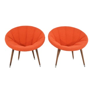 Mid-Century Orange Upholstered Hoop Chairs - a Pair For Sale