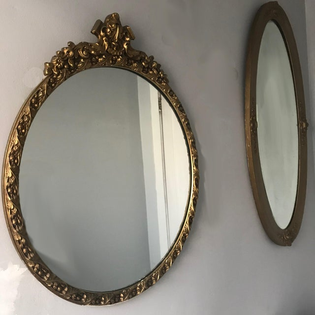 Vintage Beveled Oval Gilt Mirror For Sale In Chicago - Image 6 of 7