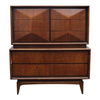 United Furniture Diamond Front Mid Century Dresser Customizable for a Fee