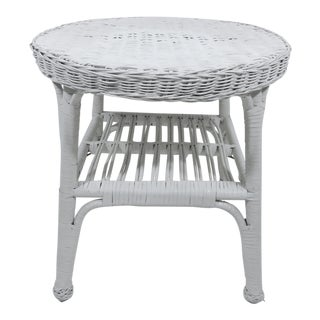 Vintage Shabby Chic White Wicker and Cane Round Two Tier Side or End Table For Sale
