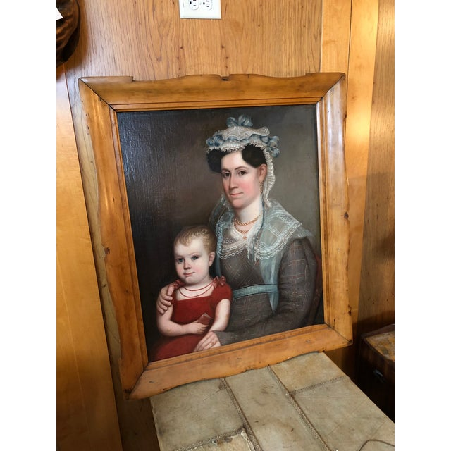 1820s American Mother and Child Portrait Painting in Maple Frame For Sale - Image 11 of 11