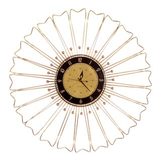 Mid Century Modern Brass Starburst / Sunburst Wall Clock For Sale