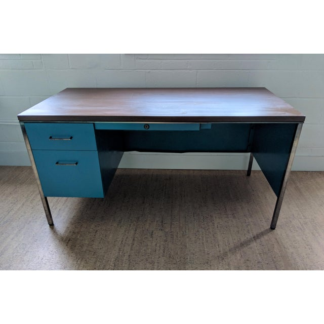 Teal Steelcase Tanker Desk For Sale In Raleigh - Image 6 of 9