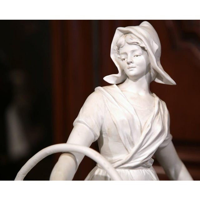 19th Century French Woman Holding Wicker Baskets Biscuit Porcelain Sculpture For Sale - Image 5 of 9