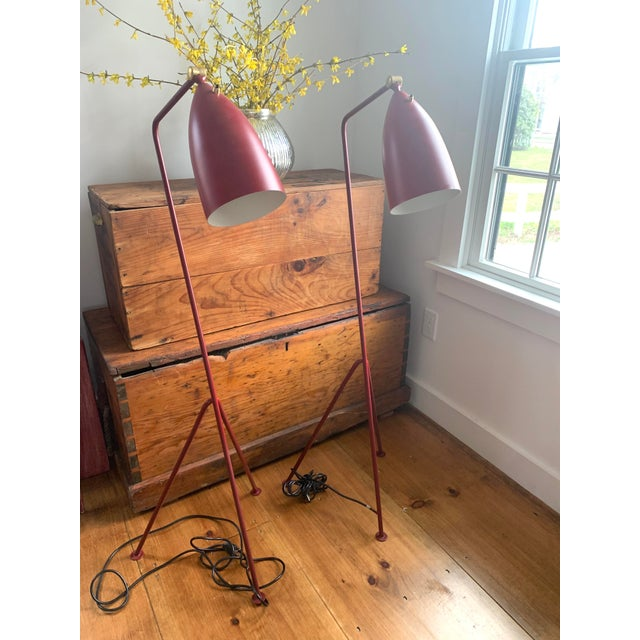 Mid-Century Modern Red Grasshopper Floor Lamps - Sold Separately For Sale - Image 9 of 9