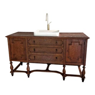 Antique Tiger Oak Converted Bathroom Vanity With Sink and Faucet For Sale