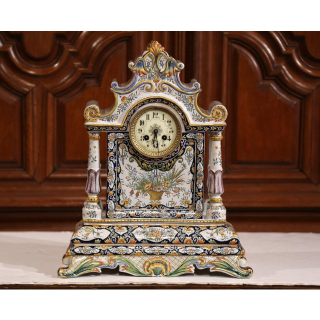 Mid 19th Century 19th Century French Hand-Painted Ceramic Mantel Clock From Rouen For Sale - Image 5 of 11