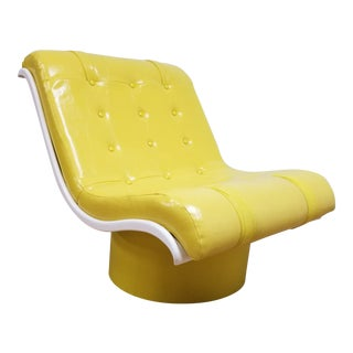 1960s Mod Yellow Faux Leather Plastic Scoop Chair