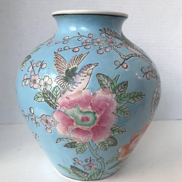 Large Japanese Blue Porcelain Peony Bird Vase Jar Chairish