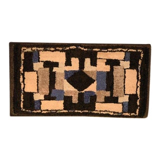 Late 19th Century Hand Hooked Wool and Velvet Mounted Rug For Sale