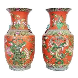 Large Chinese Porcelain Vases - a Pair - Phoenix Peacocks Birds Foo Dogs Flowers Butterflies Antique Vintage For Sale