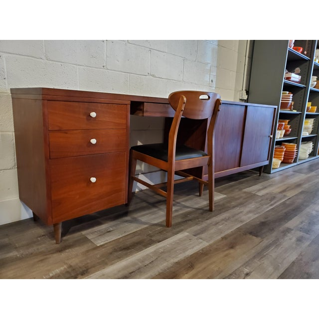 Brown Mid-Century Modern Desk & Credenza - A Pair For Sale - Image 8 of 13