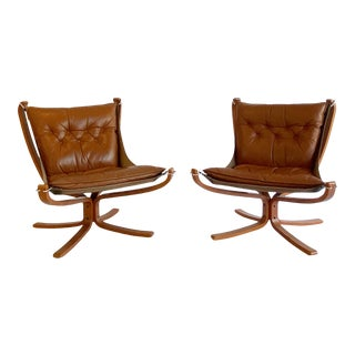 Sigurd Ressell Cognac Vintage Falcon Leather Armchair for Vatne Möbler - a Pair For Sale
