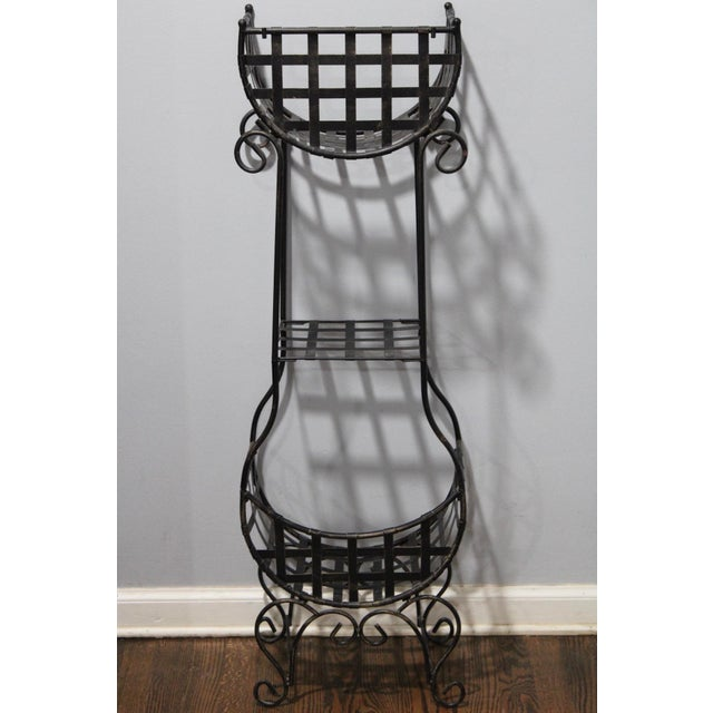Metal French Country Cast Iron Tiered Metal Plant Stand For Sale - Image 7 of 7