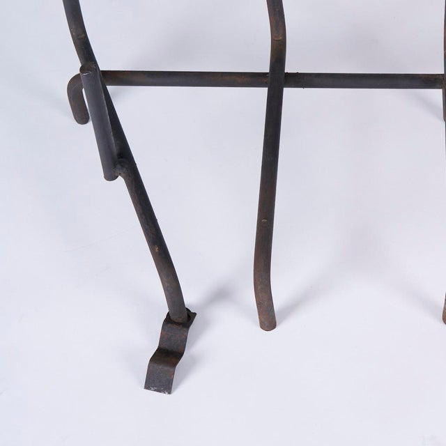 """Mid century modern wrought iron fireplace grate or log holder, circa 1950s Measures 31"""" wide, 12"""" deep and 9.5"""" high In..."""